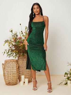 Платье на бретельках с высоким разрезом с открытой спиной и шнурком блестящий