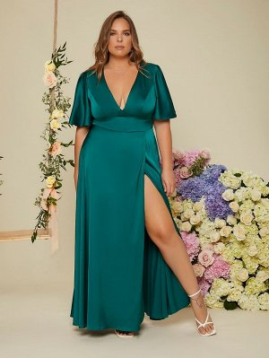 Размера плюс Вечернее платье с открытой спиной узлом с глубоким вырезом с рукавами-бабочками разрез бедро из атласа