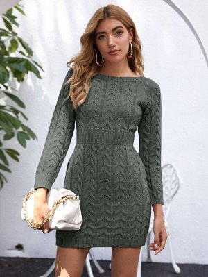 Вязаное платье-свитер с рукавом реглан