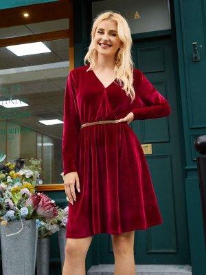 Платье с v-образным вырезом контрастный бархатный