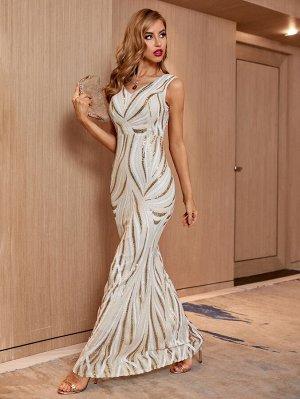 Вечернее платье с v-образным вырезом блестящий
