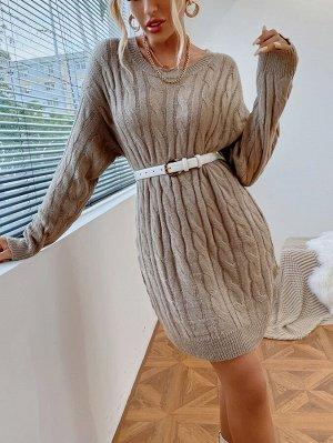 Платье-свитер вязаный без пояса