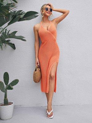 Платье-свитер с вырезом на спине
