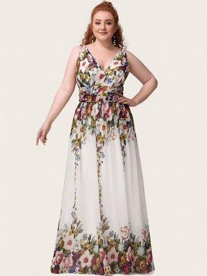 EVER-PRETTY Шифоновое платье размера плюс с цветочным принтом