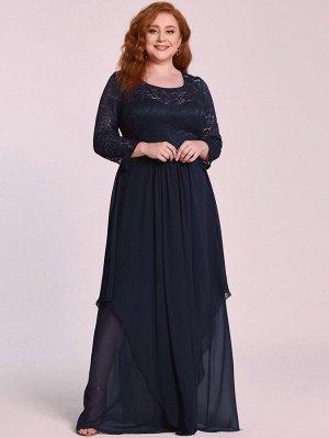 EVER-PRETTY Шифоновое платье размера плюс со стразами и кружевной отделкой