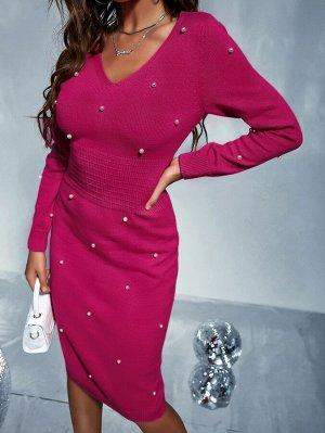 Платье-свитер из жемчугов