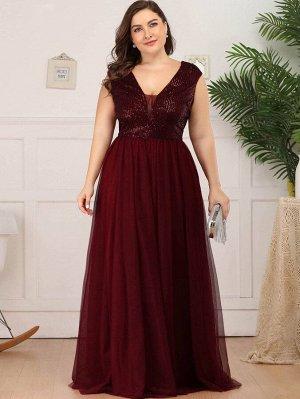 EVER-PRETTY Шифоновое платье размера плюс с сетчатой вставкой