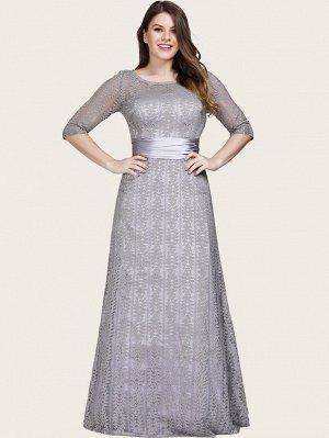 EVER-PRETTY Атласное кружевное платье размера плюс со сборками