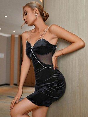 Double Crazy Облегающее платье со стразами цепочка с сетчатой вставкой бархатный