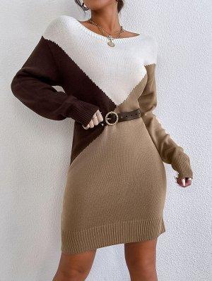 Платье-свитер с цветными блоками и вырезом лодочкой без ремня