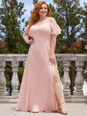 EVER-PRETTY Шифоновое платье с открытыми плечами размера плюс