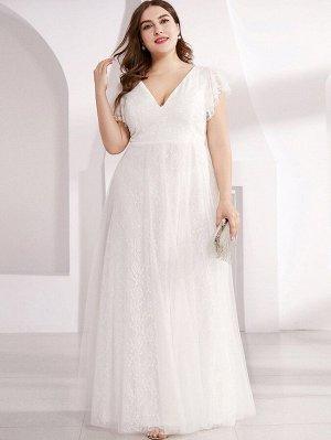 EVER-PRETTY Оригинальное сетчатое и кружевное платье размера плюс