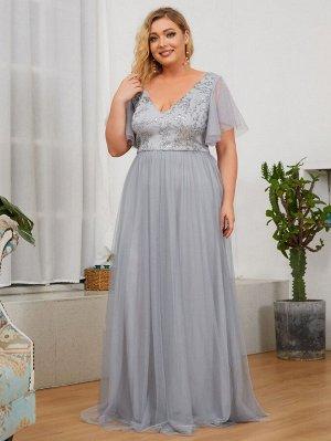 EVER-PRETTY Сетчатое платье  с блестками с рукавами-бабочками  для размера плюс