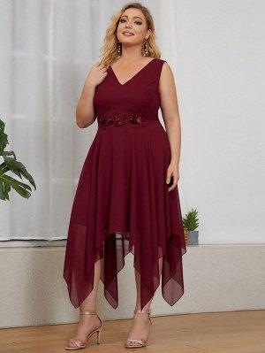 EVER-PRETTY Платье  с блестками с цветком из шифона размера плюс