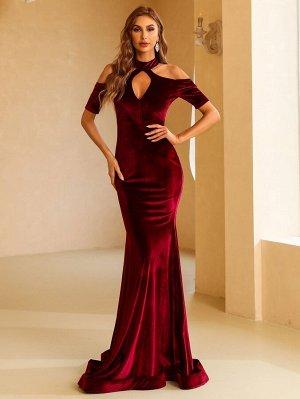 Missord Вечернее платье с воротником-стойкой с разрезом бархатный