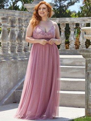 EVER-PRETTY Шифоновое платье на бретельках с блестками размера плюс