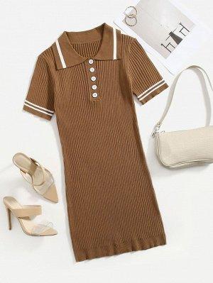 Вязаное платье-свитер в полоску с пуговицами