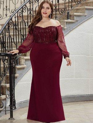 EVER-PRETTY Асимметричное блестящее бархатное платье размера плюс
