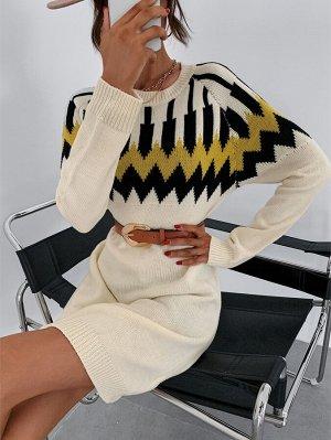Платье-свитер с шевронным узором с рукавом-реглан без пояса