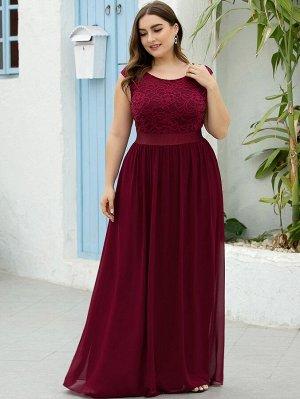 EVER-PRETTY Кружевное шифоновое платье размера плюс