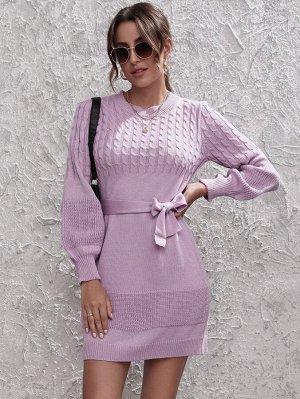 Вязаное вязаное платье-свитер с поясом