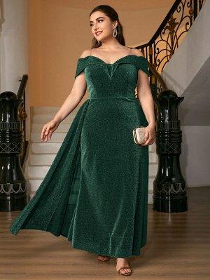 Платье размера плюс с открытыми плечами и прозрачным ремешком