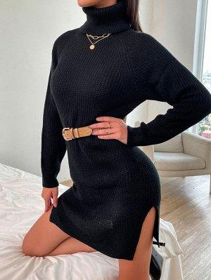 Платье-свитер с рукавом-реглан с высоким воротником с разрезом без пояса