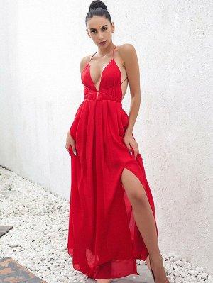 Joyfunear Платье с открытой спиной и глубоким вырезом