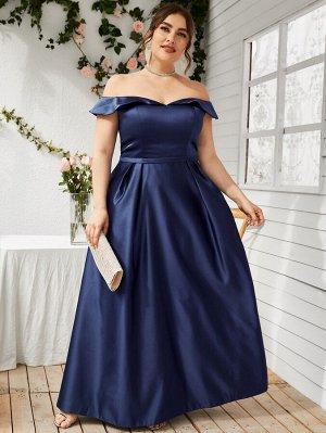 Размера плюс Вечернее платье с открытыми плечами из атласа макси