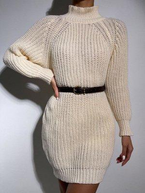 Платье-свитер с воротником-стойкой с рукавом-реглан без пояса