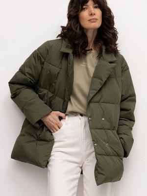 Стеганая куртка с поясом N011/grassy