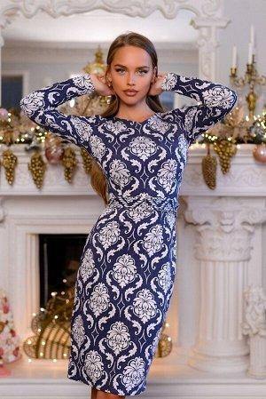 Платье Благородный синий в сочетании с необычным узором никогда не выйдет из моды. Классическое платье идёт в комплекте с ремешком, силуэт прилегающий. Неприхотливая в уходе модель платья 4538 несомне