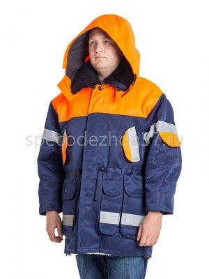 "Куртка рабочая ""РЖД"" цв.оранж/тёмно-синий тк.полиэфир"