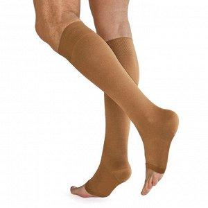 Чулки медицинские компрессионные, ниже колена, без мыска, 2 класс, арт.3001 рост 2, размер 3 (M), цвет бежевый