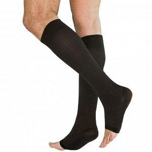 Чулки медицинские компрессионные, ниже колена, без мыска, 2 класс, арт.3001 рост 2, размер 2 (S), цвет чёрный