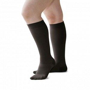 Чулки медицинские компрессионные, ниже колена, с мыском, 1 класс, арт.3002 рост 2, размер 3 (M), цвет чёрный