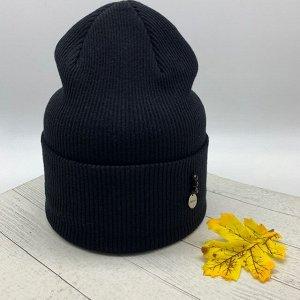 Шапка Бесспорный лидер продаж шапка-бини, в черном цвете, который вписывается в любой образ, гармонично его завершая. Декорирована оригинальным металлическим элементом с бусинами. Размер 56-58см. Cост