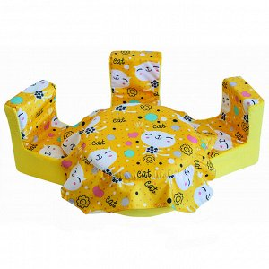 "Мебель мягк. Стол,3 стула ""Коты желтые"" с желтым плюшем НМ-004-30"