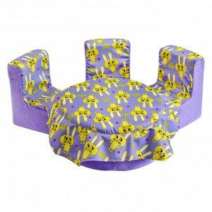 """Мебель мягк. Стол,3 стула """"Кролики сиреневые"""" с сиреневым плюшем НМ-004-29"""