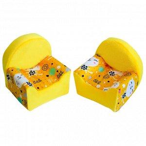 """Мебель мягк. 2 кресла """"Коты желтые"""" с желтым плюшем НМ-001/1-30"""