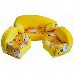 """Мебель мягк. Диван+2 кресла+2подушки """"Коты желтые"""" с желтым плюшем НМ-002/2-30"""