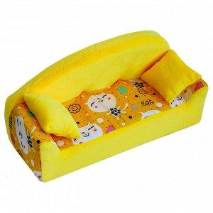 """Мебель мягк. Диван,2 подушки """"Коты желтые"""" с желтым плюшем НМ-002/1-30"""