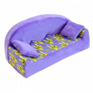 """Мебель мягк. Диван,2 подушки """"Кролики сиреневые"""" с сиреневым плюшем НМ-002/1-29"""