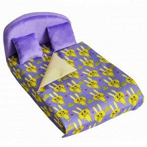 """Мебель мягк. Кровать,2 подушки,одеяло. """"Кролики сиреневые"""" с сиреневым плюшем НМ-003-29"""