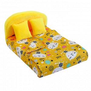 """Мебель мягк. Кровать,2 подушки,одеяло.""""Коты желтые"""" с желтым плюшем НМ-003-30"""