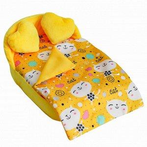 """Мебель мягк. Кровать,2 подушки,одеяло.""""Коты желтые"""" с желтым плюшем НМ-003/4-30"""
