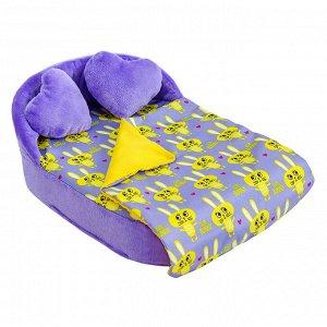 """Мебель мягк. Кровать,2 подушки,одеяло.""""Кролики сиреневые"""" с сиреневым плюшем НМ-003/4-29"""