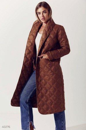 Бронзовая стеганная куртка с поясом