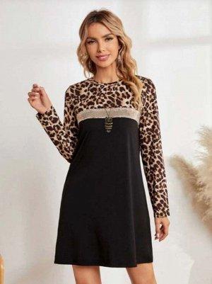 Платье с блестками с леопардовым принтом