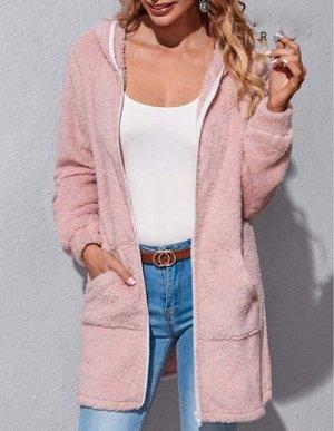 Пальто с капюшоном с карманом на молнии